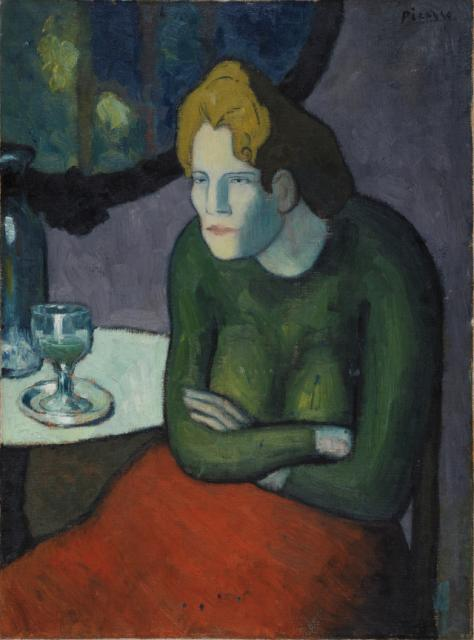 Femme au café (Absinthe Drinker), Pablo Picasso (1901-1902) (esposto all'Hermitage)