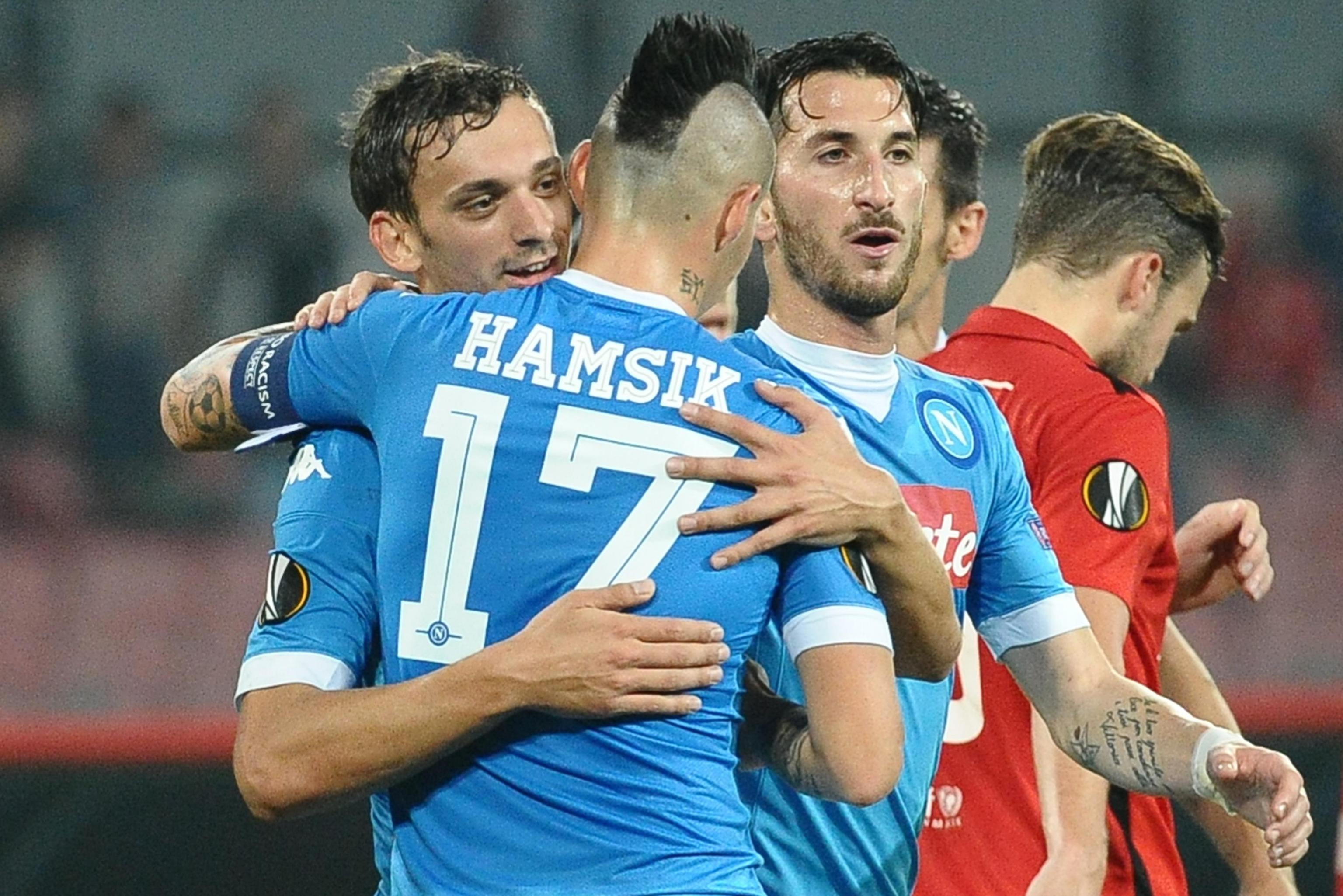 Manolo Gabbiadini festeggia il gol del 3-0 nel match contro il Midtjylland (foto Ansa.it)