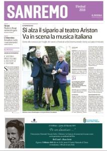 """La copertina dell'inserto sul Festival di Sanremo pubblicato da """"Il Piccolo"""" domenica 3 febbraio 2019"""
