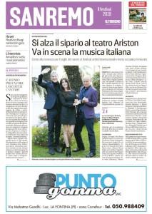 """La copertina dell'inserto sul Festival di Sanremo de """"Il Tirreno"""" del 3 febbraio 2019"""